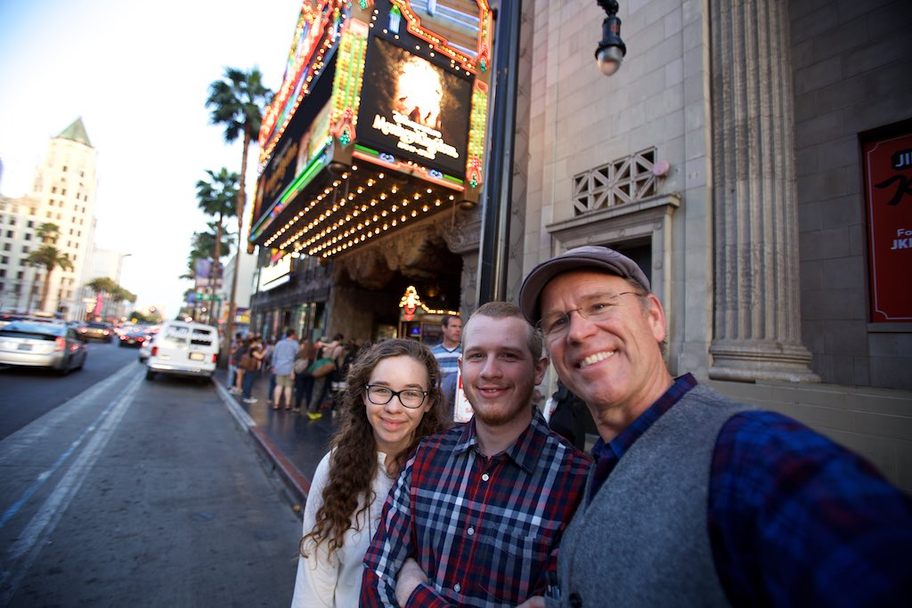 Getting ready to watch Cinderella at the El Capitan